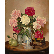 Sydney Thomas Still Life Oil Painting with Peonies- Early June Blossoms