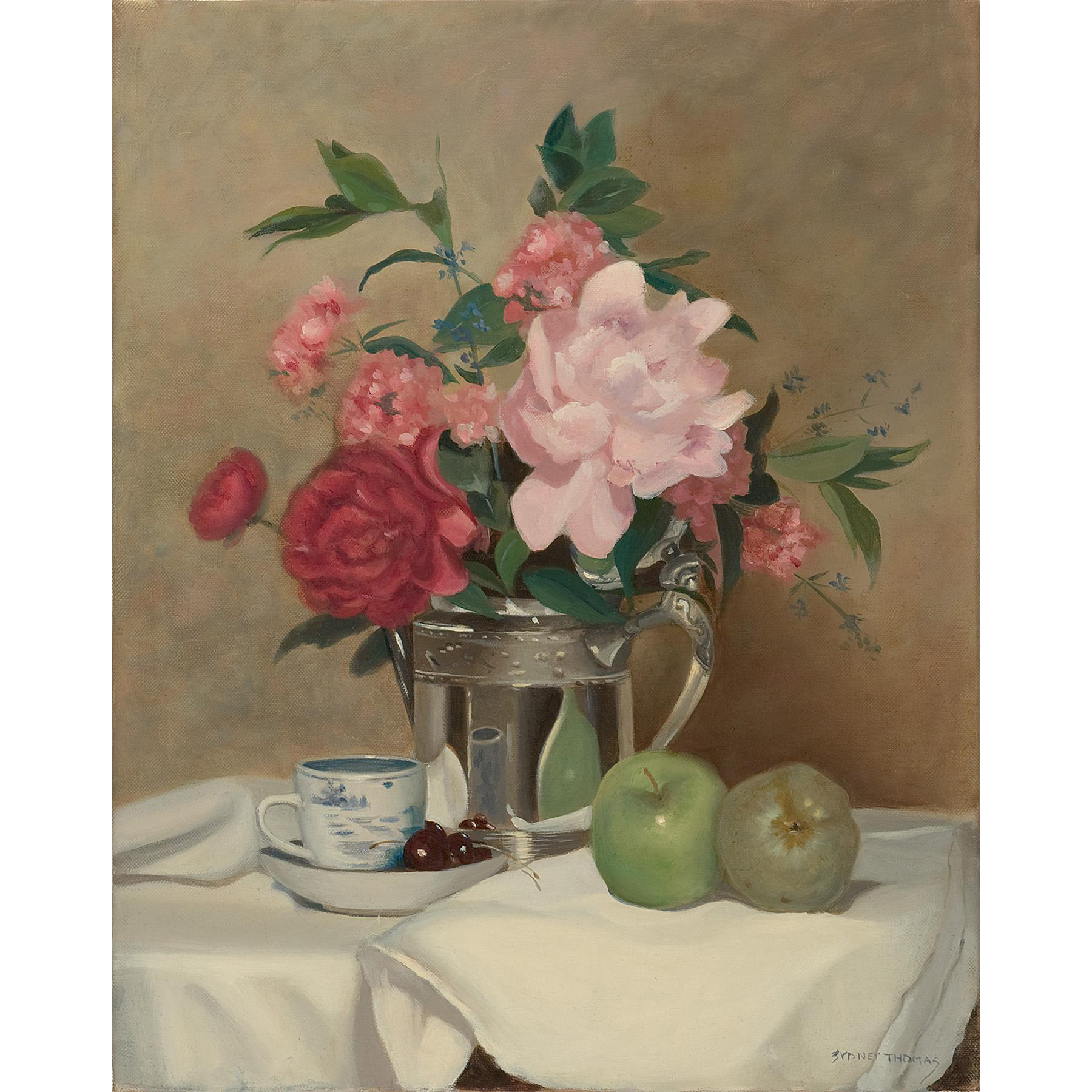 Sydney Thomas Still Life Oil Painting - Demitasse with Peonies