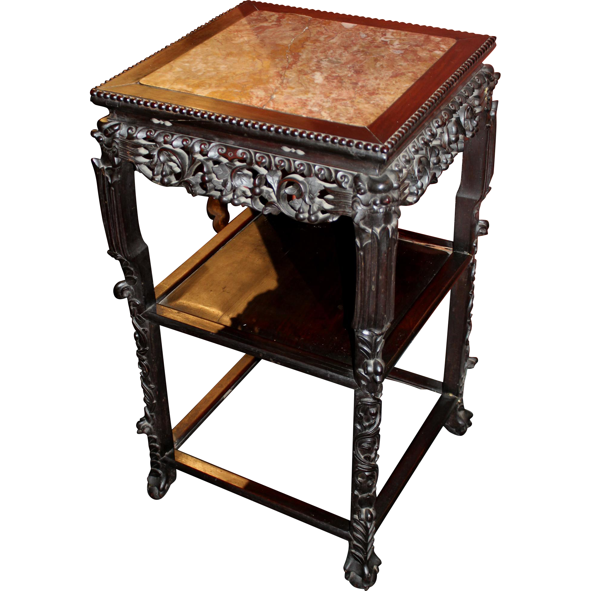 19th Century Chinese Square Marble Top Two-Tier Carved Rosewood Stand