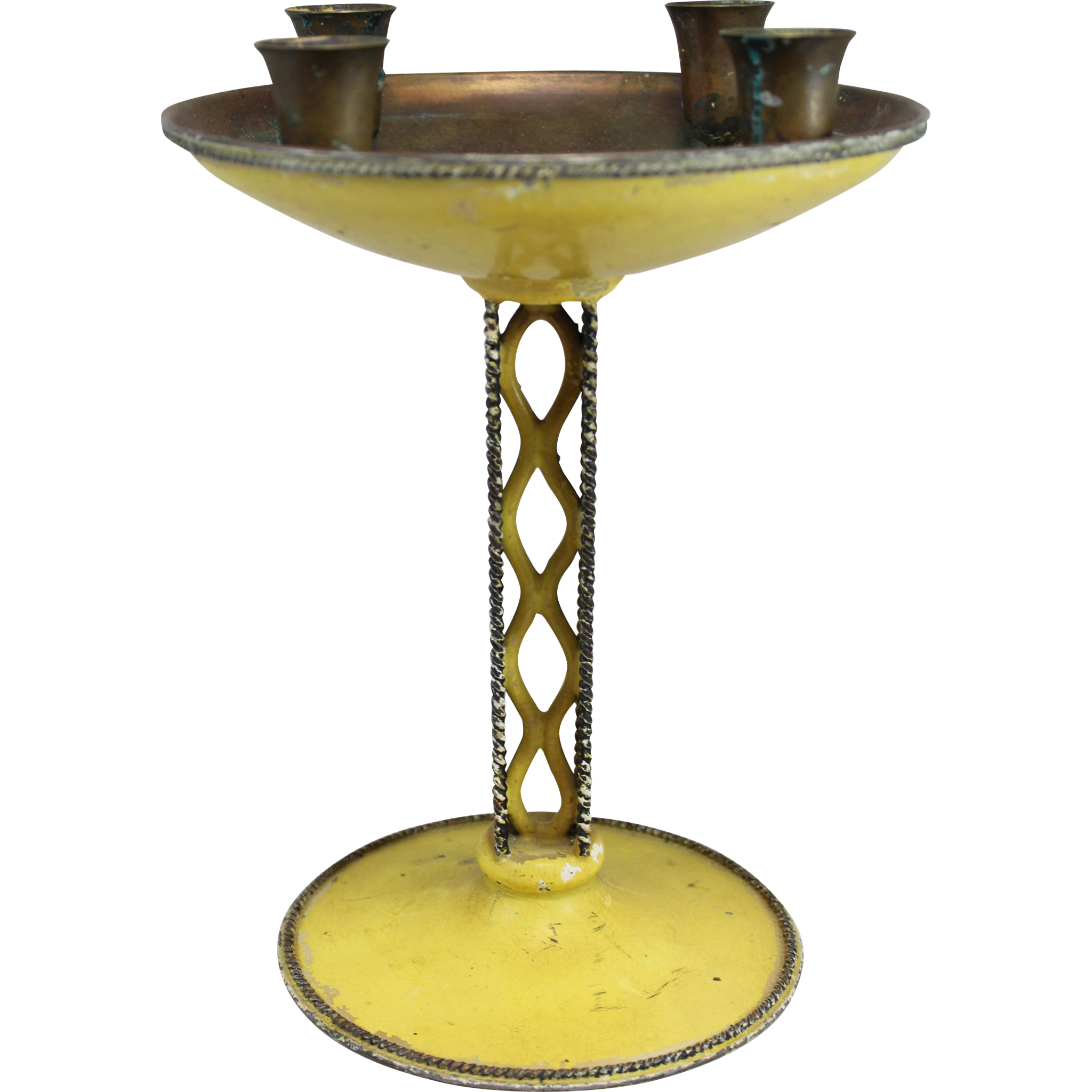 French Art Deco Enameled Toleware Candelabra