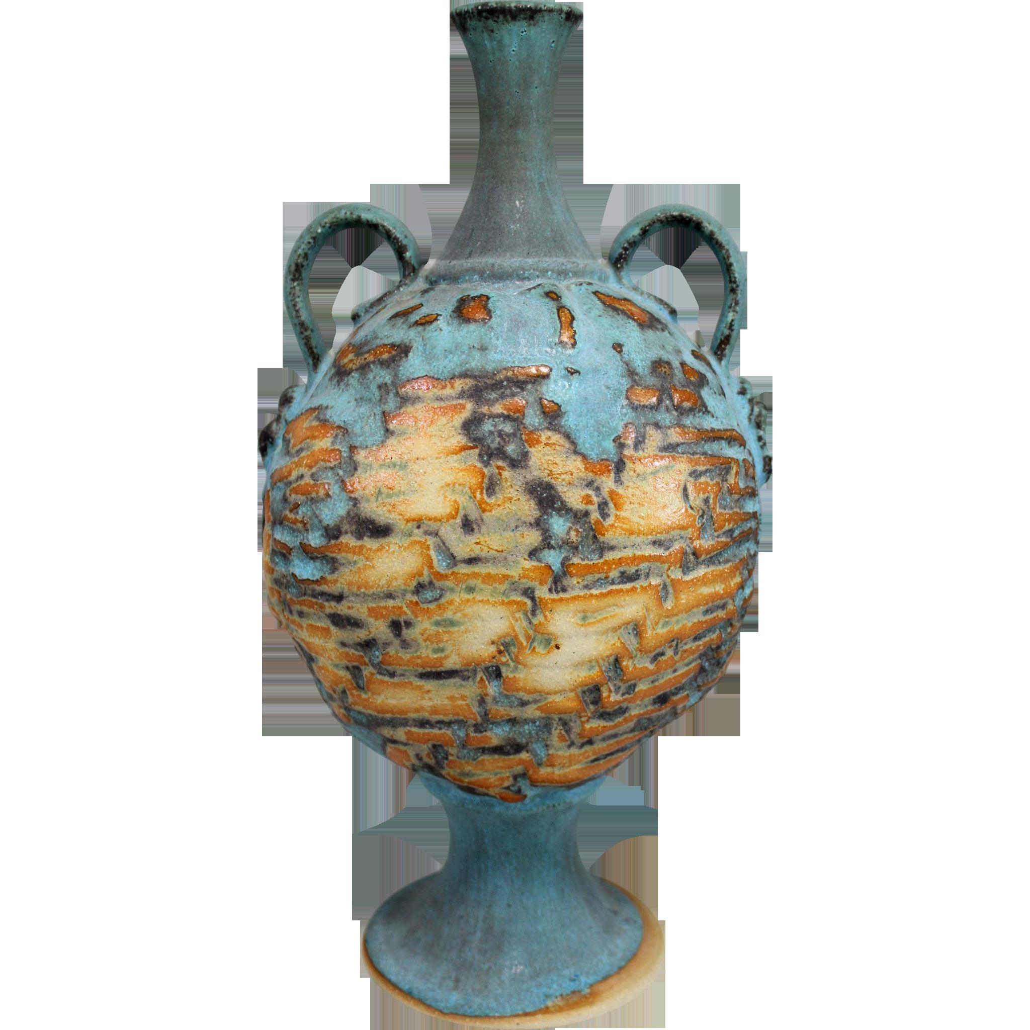 Polychrome Classic Form Art Pottery Handled Vase