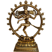 19th c Indian Polished Bronze Sculpture of Hindu Goddess Shiva as Nataraja
