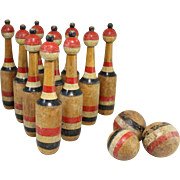 Late 19th c Set of Antique Lawn Bowling Skittles with Balls in Original Paint