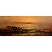 19th c Luminous Oil Painting of Shipwreck Signed Morris