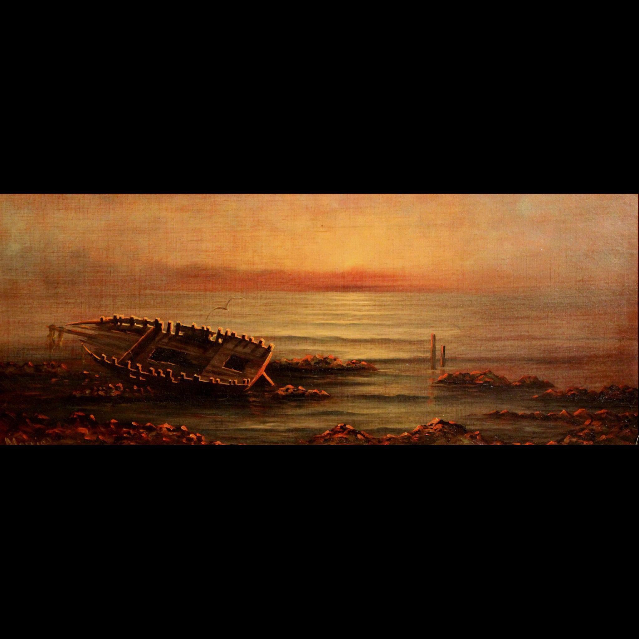 19th c Luminous Oil Painting of Shipwreck Signed Morris