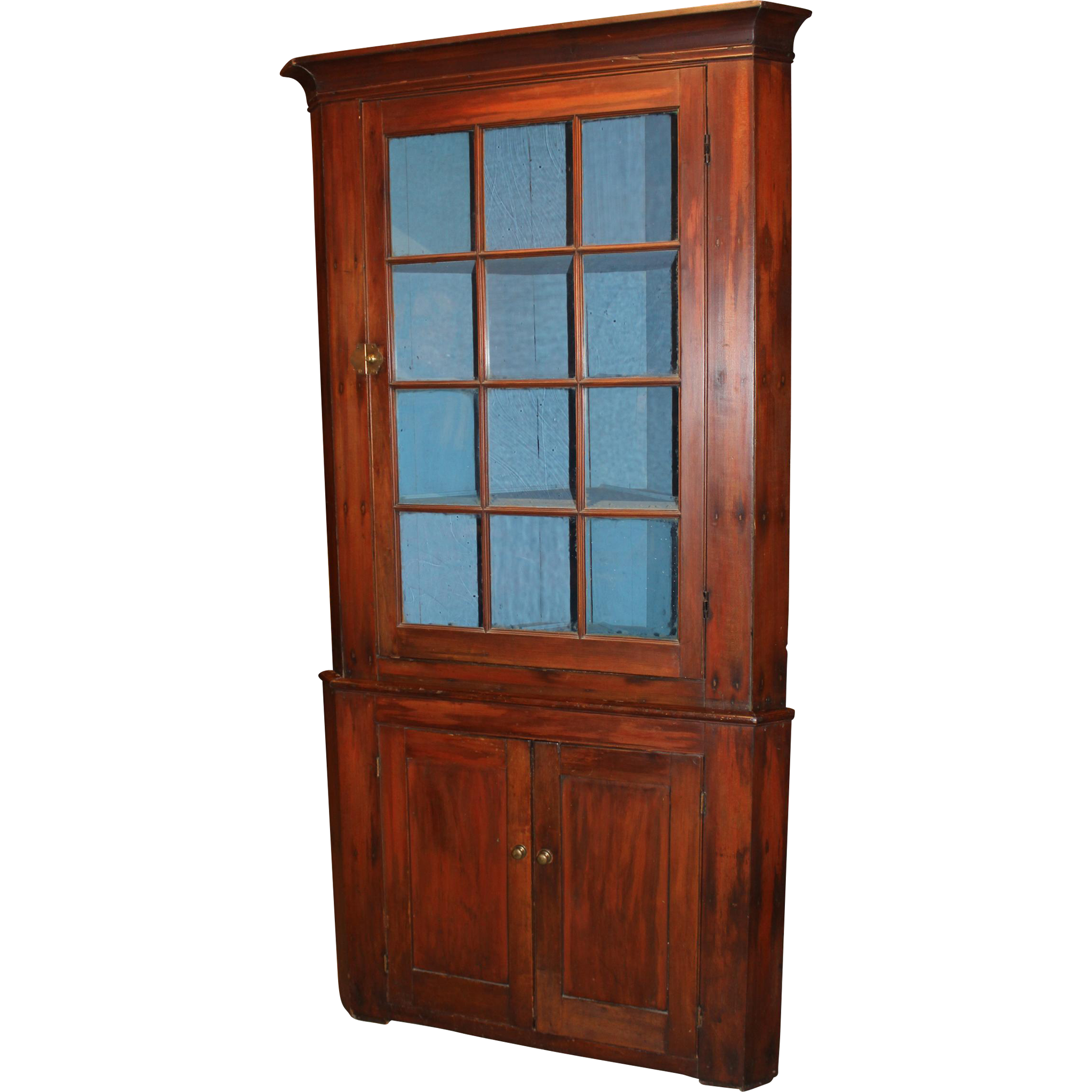 Early American Two Part Poplar Corner Cupboard circa 1820