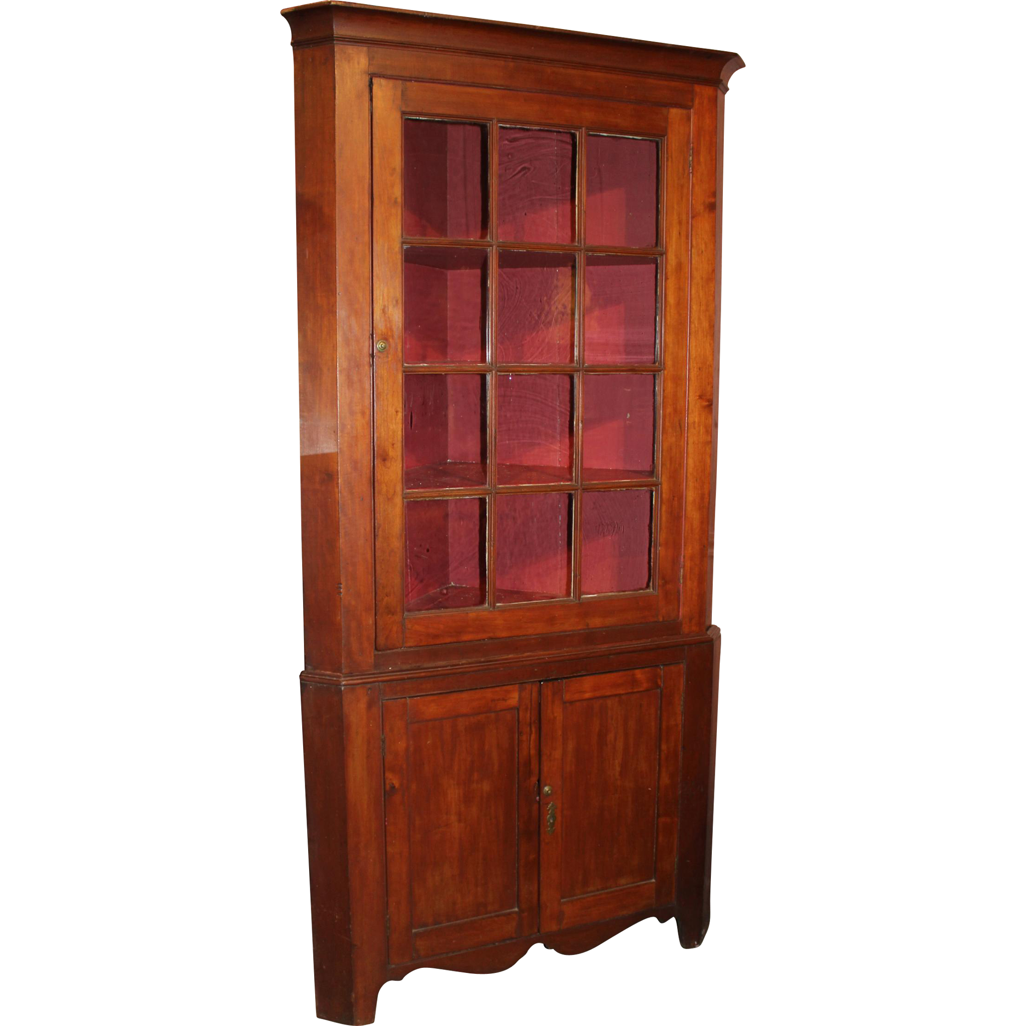 Federal Period Cherry Corner Cupboard with Glazed Door, circa 1820