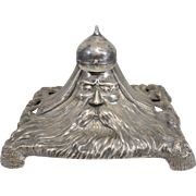 Spectacular 19th c Russian 84 Silver Military Figural Inkwell