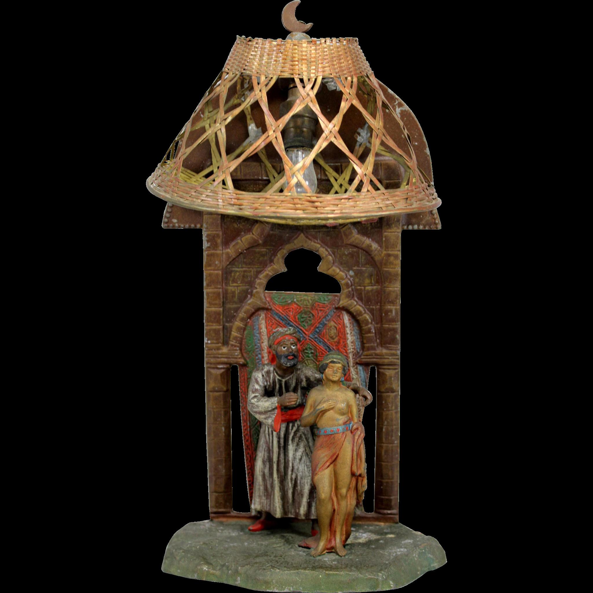 Vienna Bronze Polychrome Orientalist Lamp with Figures