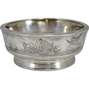 Aesthetic Period Gorham Sterling Silver Bowl  in the Japanese Taste, circa 1876