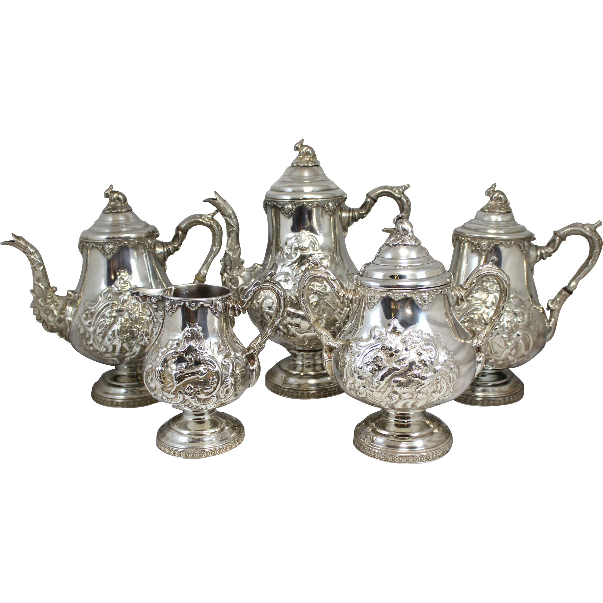 5 Pc Rogers Smith & Co Silver Plate Tea Service with Hunt Scenes circa 1857-1861