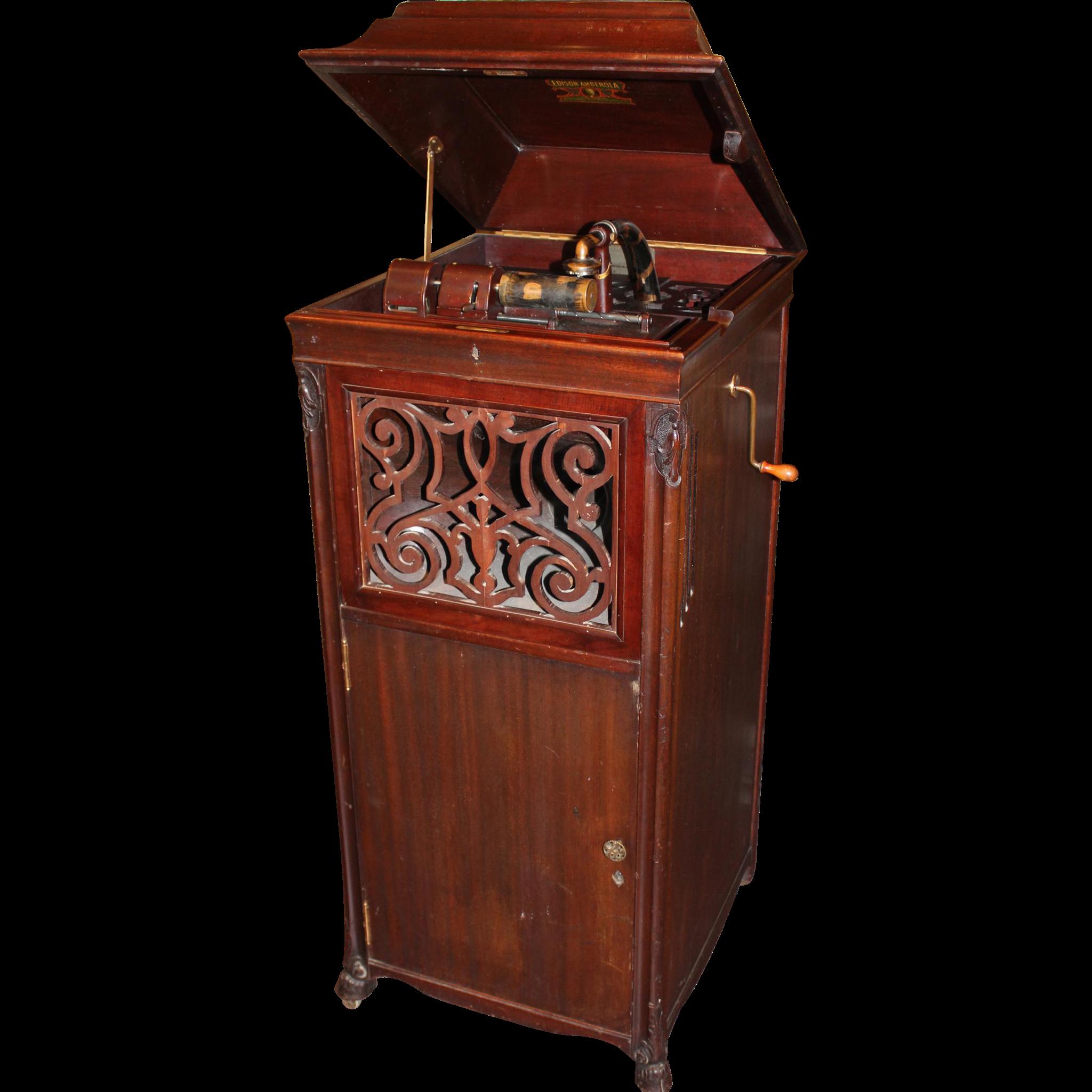 Edison Amberola Model A Type Sm Mahogany Case Cylinder Phonograph Sold Ruby Lane