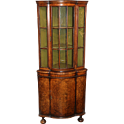 18th Century Dutch Burled Walnut Two-Door Petite Corner Cupboard