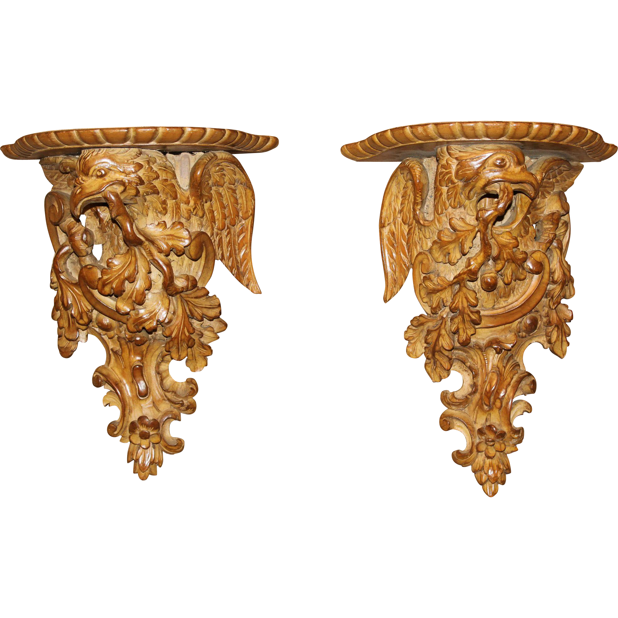 Pair of Continental Heavily Carved Fruitwood Eagle Wall Shelves