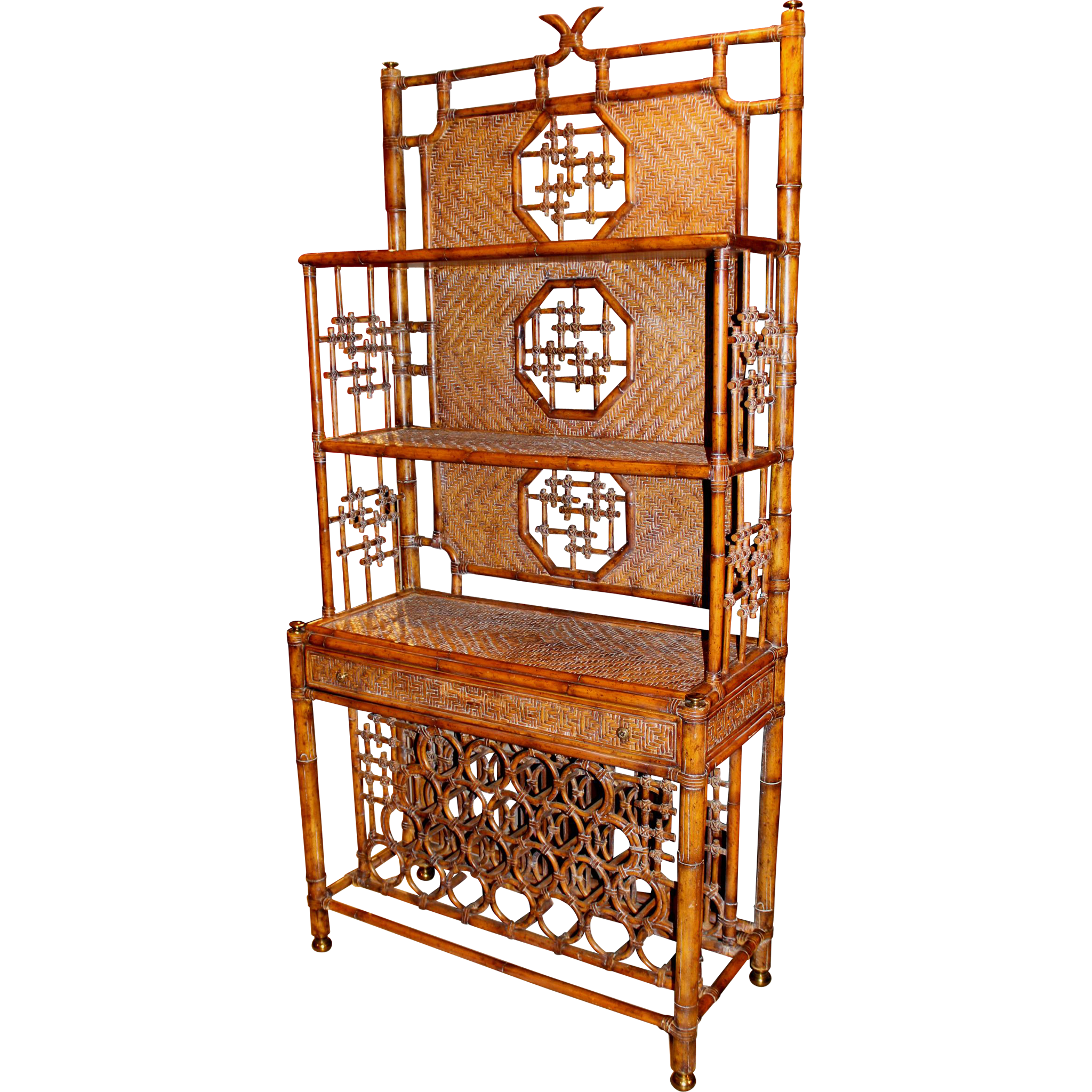 Maitland & Smith Faux Bamboo Wicker Wine Cabinet