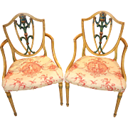 Pair of English Adam Style Polychrome Upholstered Armchairs