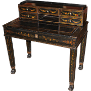 19th Century Continental Polychrome Writing Desk in Black Lacquer