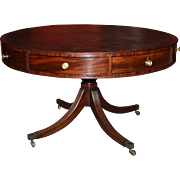 Georgian Mahogany Eight-Drawer Leather Top Drum Table, A. Solomon, circa 1780