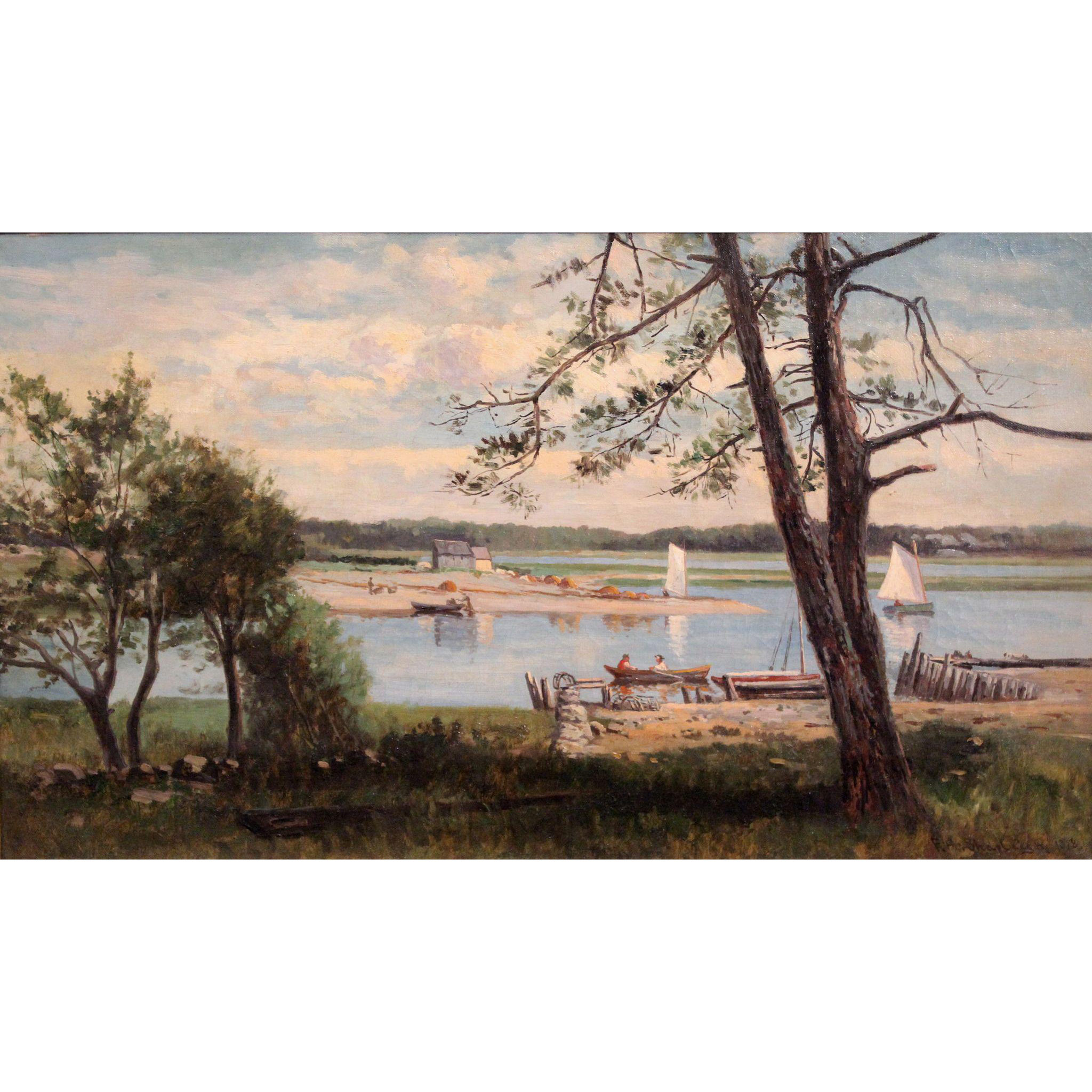 Frank Henry Shapleigh Coastal Oil Painting - Boats on an Inlet, Cohasset MA