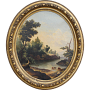 Hudson River Landscape Oil Painting with Cows in Oval Giltwood Frame