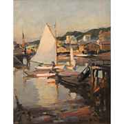 Emile Albert Gruppe Marine Oil Painting- White Boats