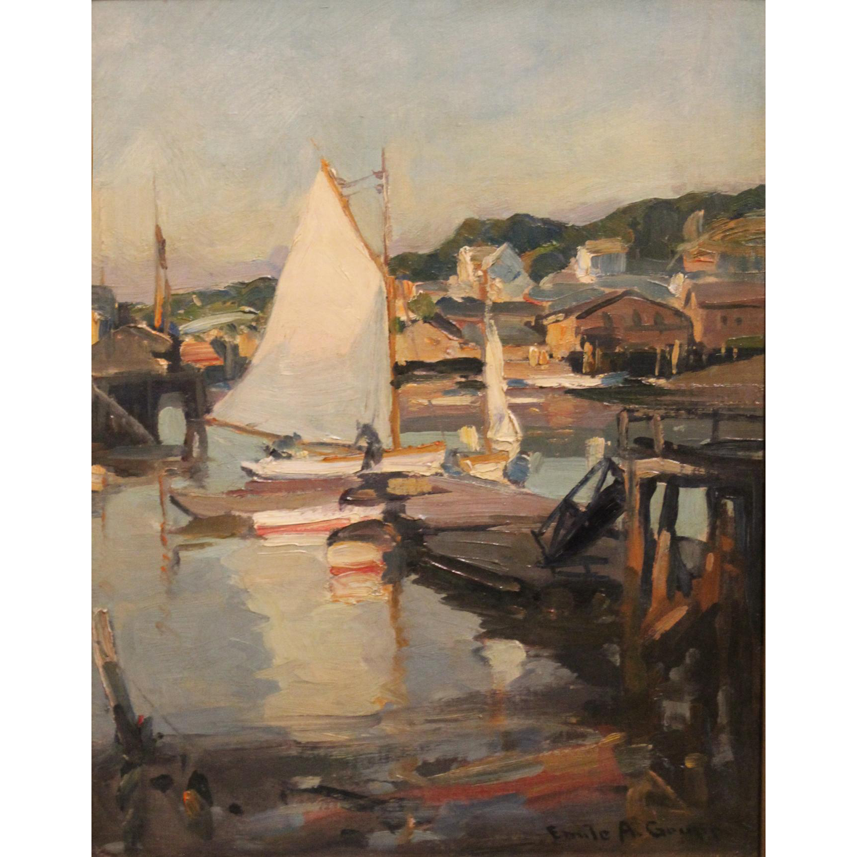 Emile Albert Gruppe Marine Oil Painting- White Boats