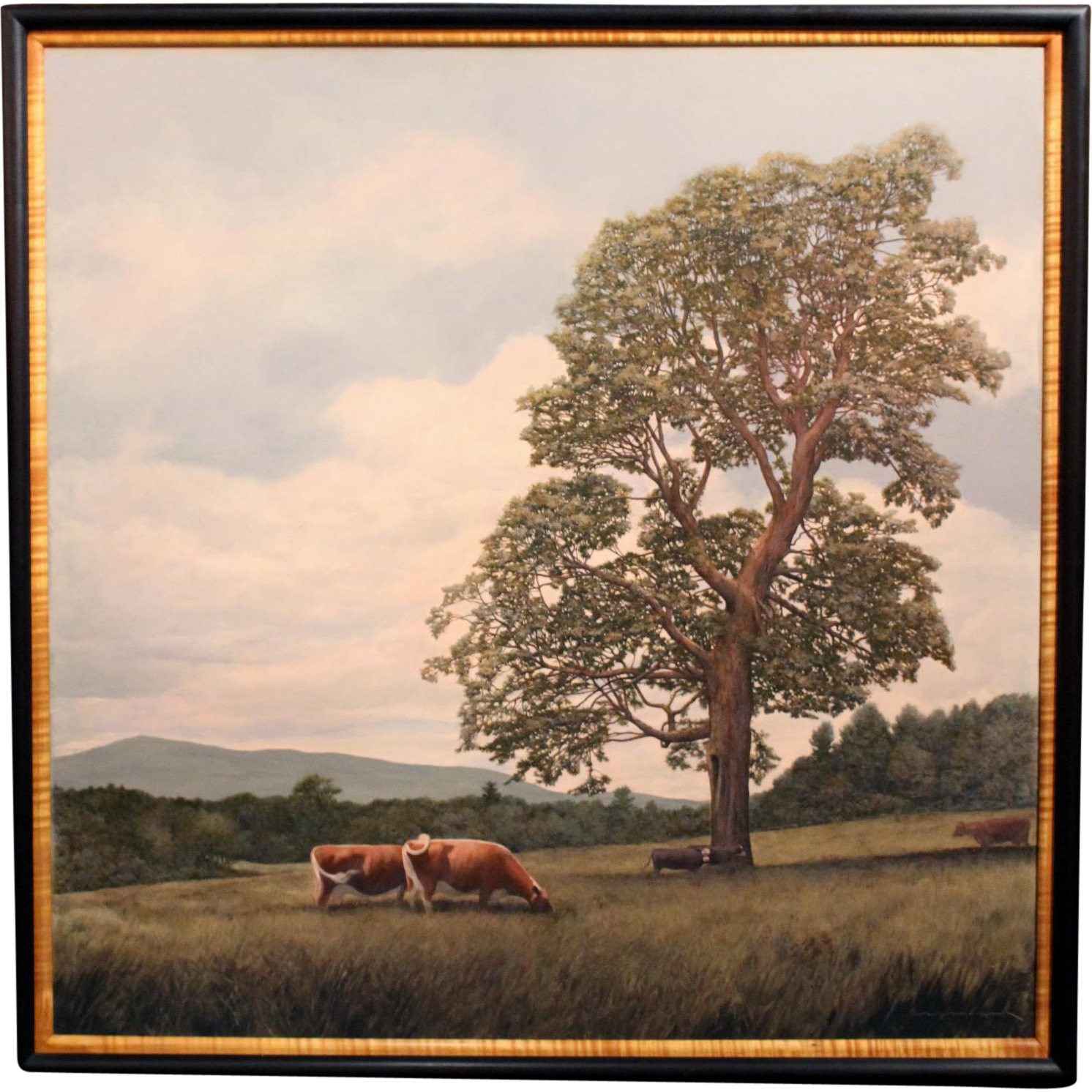 Erick Ingraham Oil Painting of a NH Landscape with Cows - Pastoral Monadnock