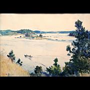 Frank Weston Benson Watercolor Painting - The Thoroughfare, 1922