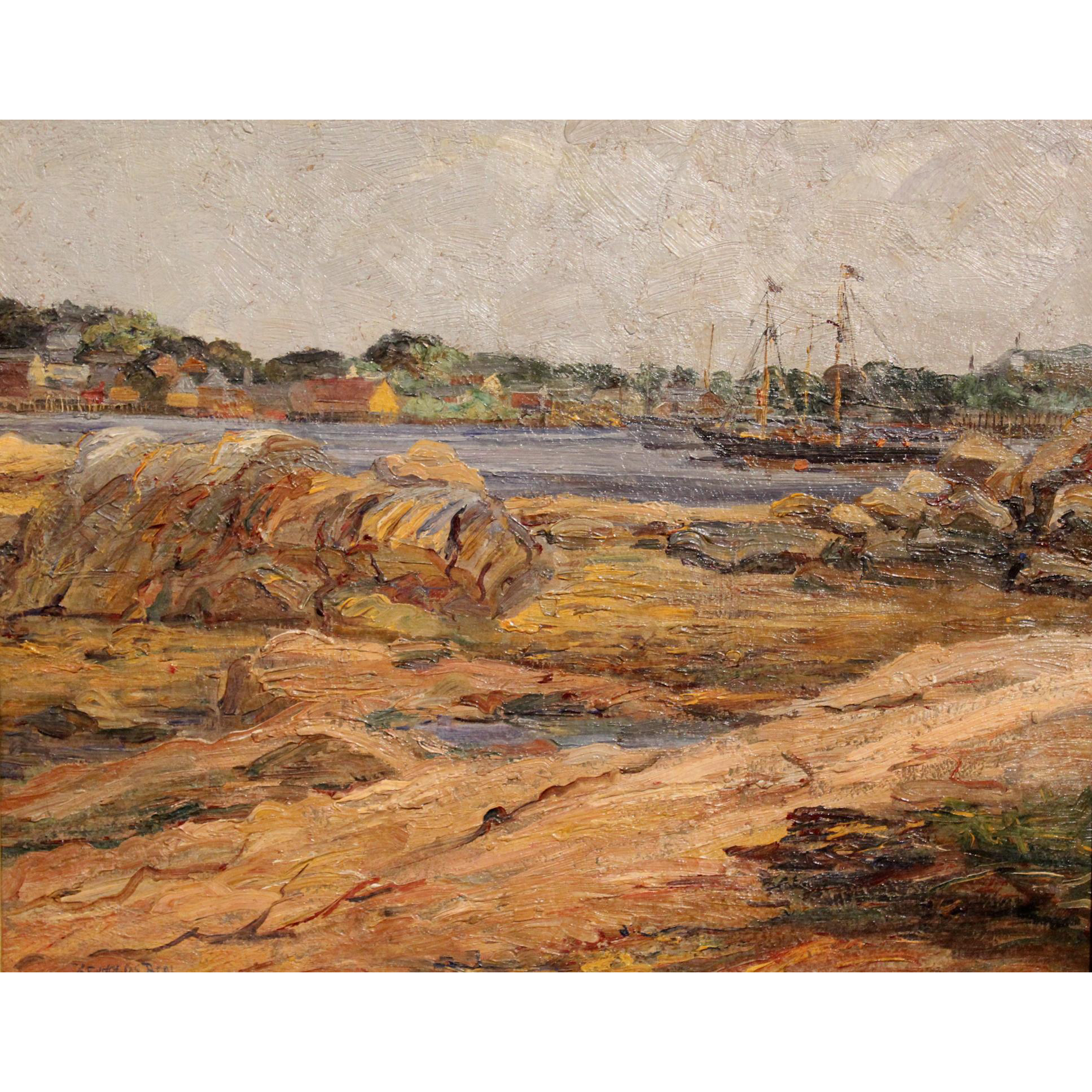 Reynolds Beal Marine Oil Painting with Schooner  - Low Tide