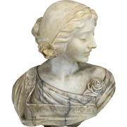 19th c Italian Carved Stone Bust of a Maiden with Flowers