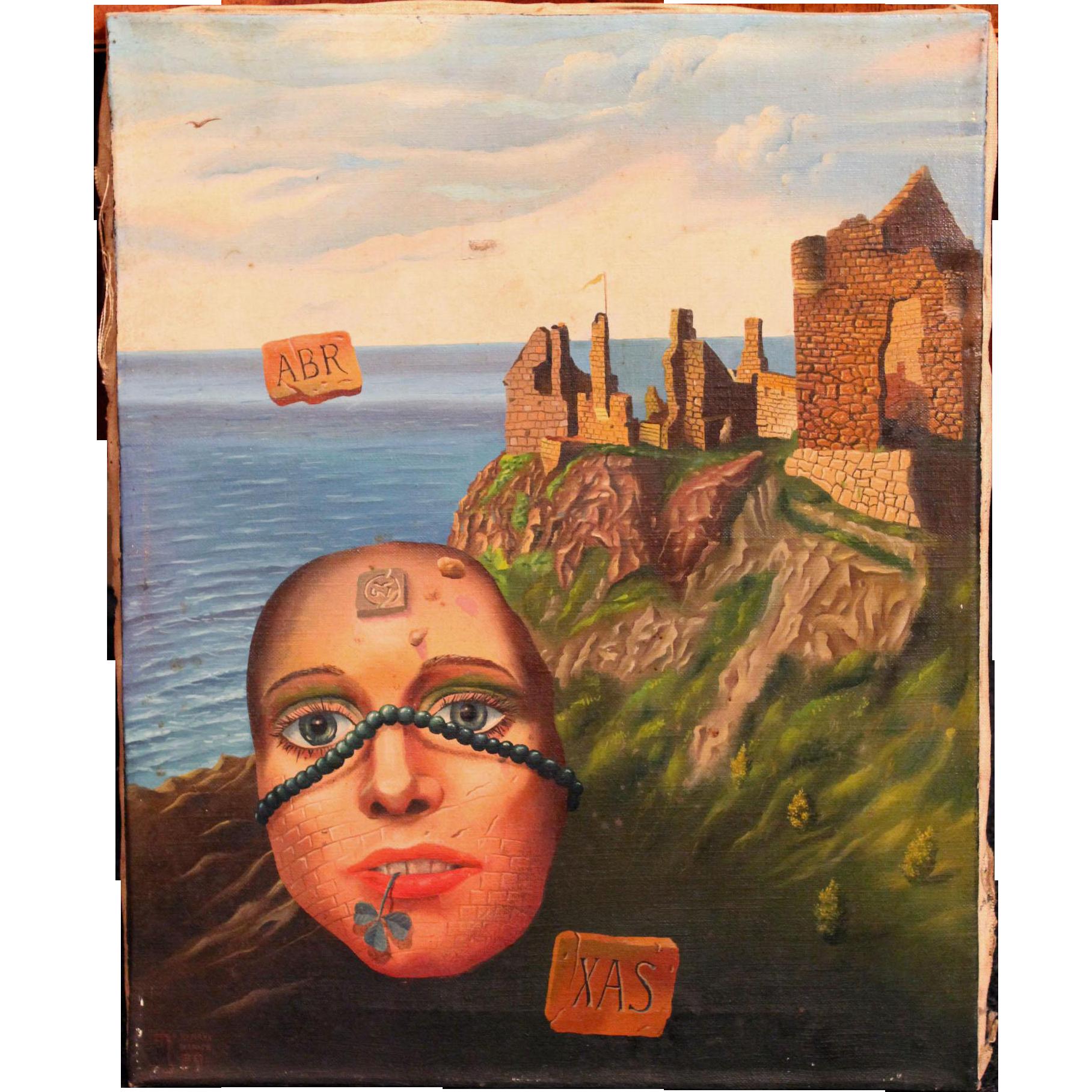 Henryk Waniek Polish Surrealist Oil Painting - Epizod 8 Z Wyspy Smierci