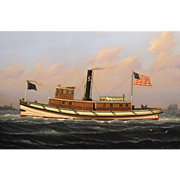 "William R. Davis Marine Oil Painting - Boston Harbor Tugboat ""Leader"" Built 1881"