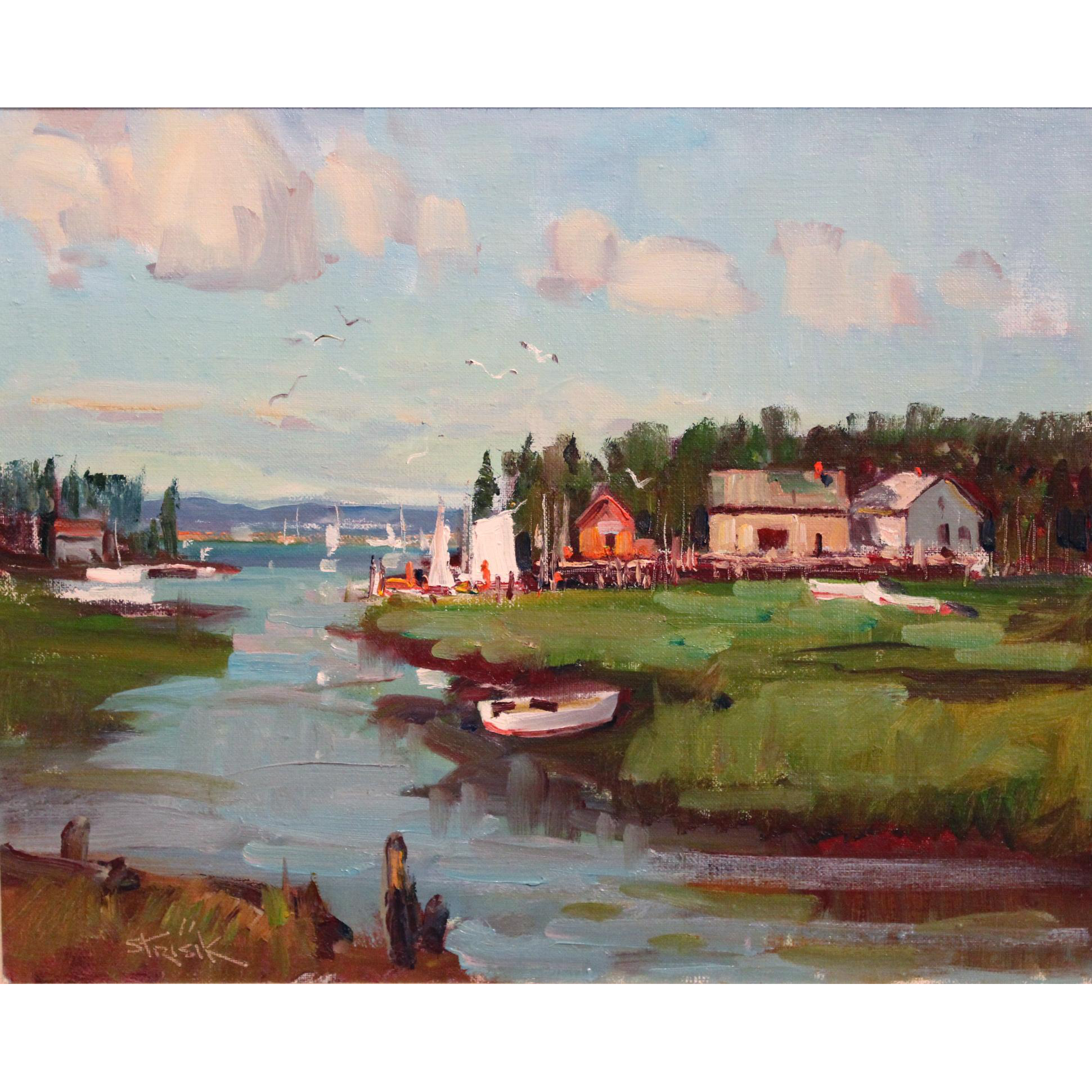 Paul Strisik Coastal Oil Painting - Wharf at Jonesport Maine