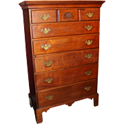 18th Century New England Chippendale Cherry Chest with Six Graduated Drawers