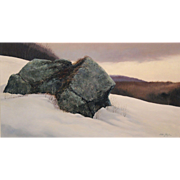 A. Hale Johnson Oil Painting Winter Landscape with Two Rocks