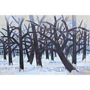 Gabor Peterdi Modernist Oil Painting - Winter II