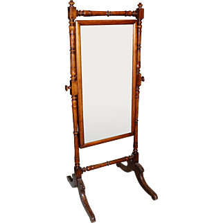 19th Century Regency Cheval Mirror with Mahogany Surround and Frame