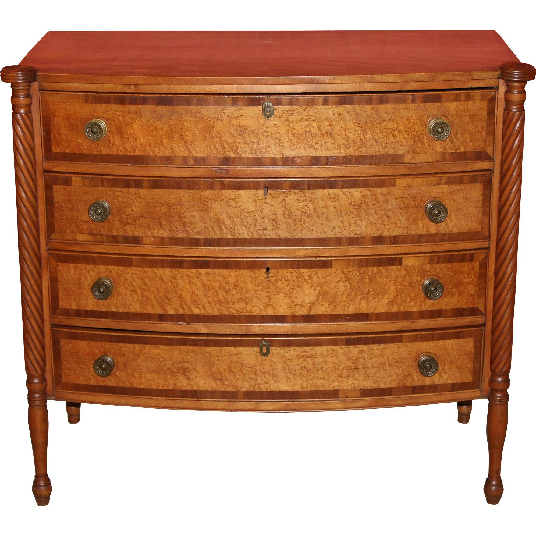 19th c Federal Birds Eye Maple Swell Front Chest
