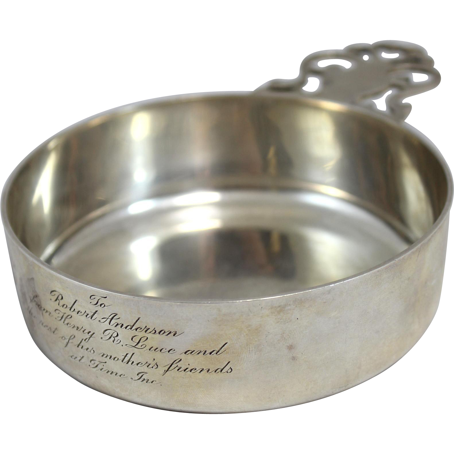 Tiffany & Co Sterling Silver Porringer - A Time Inc. Gift to Robert Anderson from Henry R. Luce