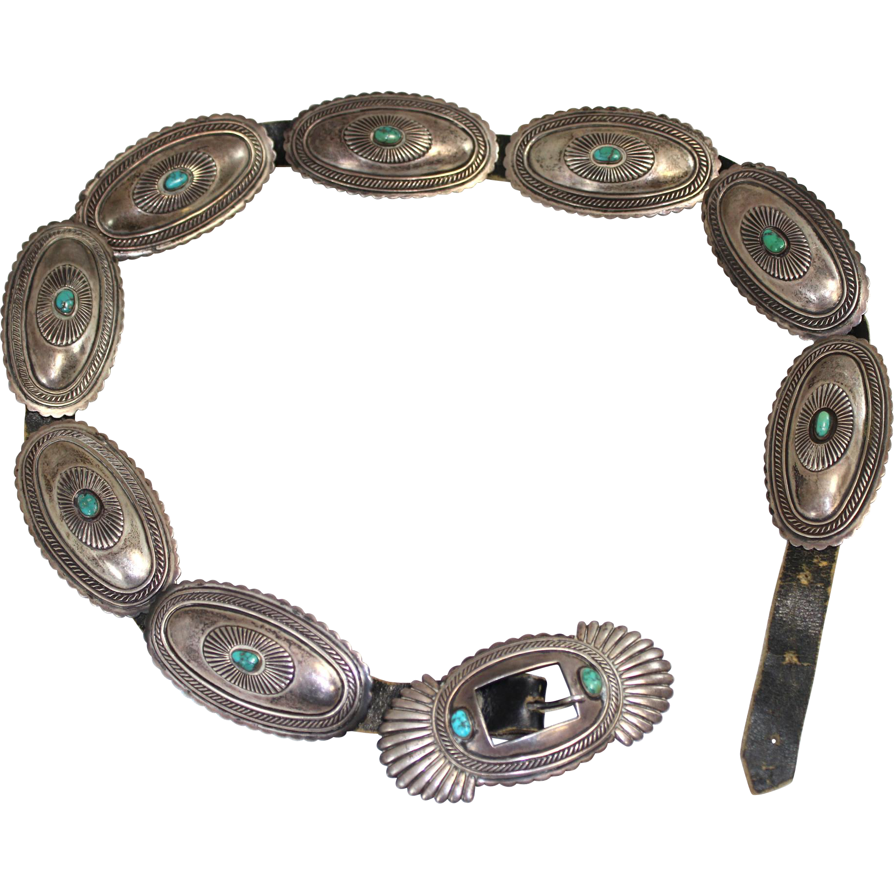 Rare Kenneth Begay Navajo Native American Sterling Silver & Turquoise Concho Belt