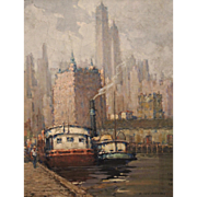 David Wu Ject-Key Oil Painting Impressionist Cityscape - Pier 6