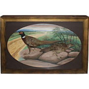 Herman Grieb Taxidermy Mount Diorama of Two Pheasants Buffalo NY circa 1912