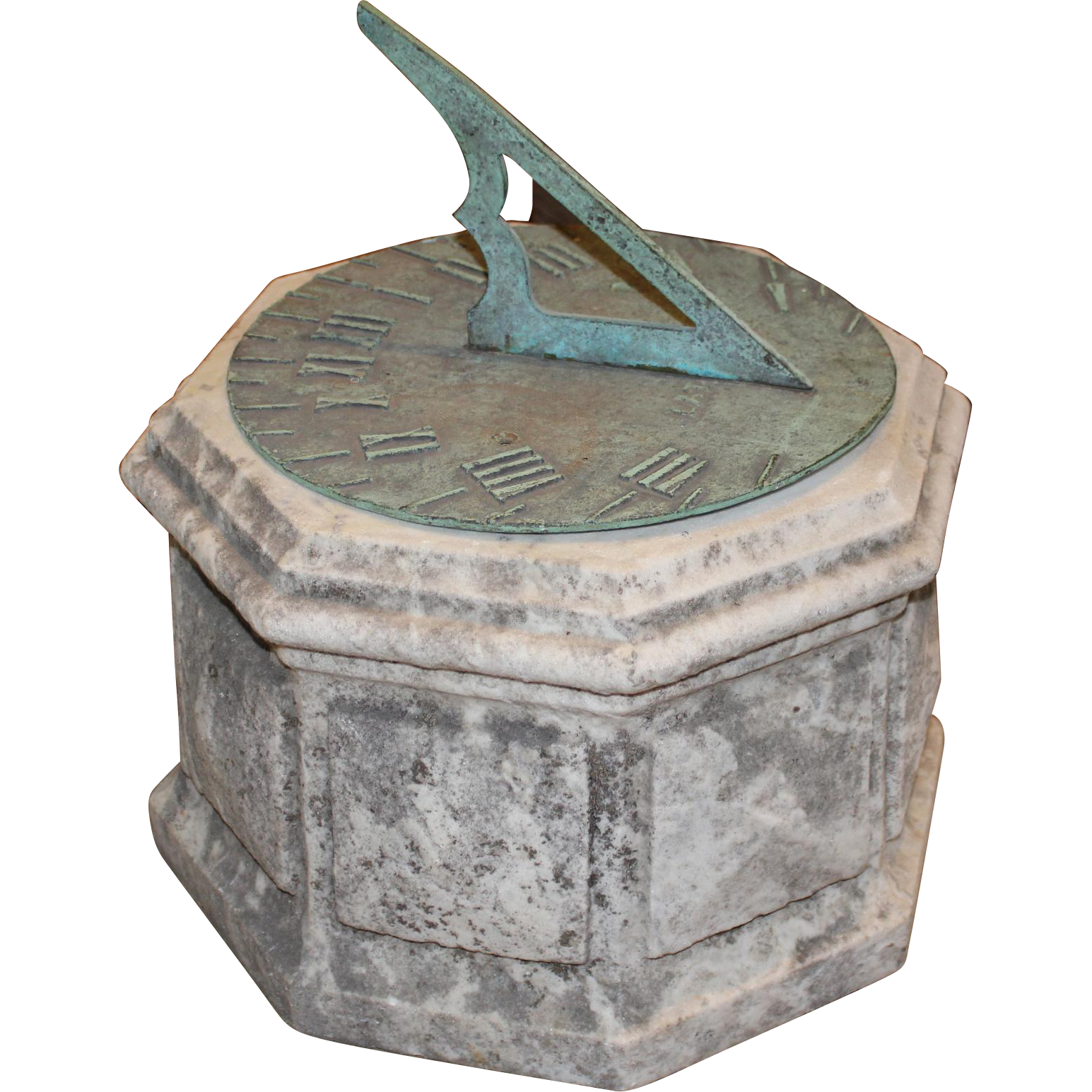 19th / 20th c Bronze Sundial on Marble Plinth