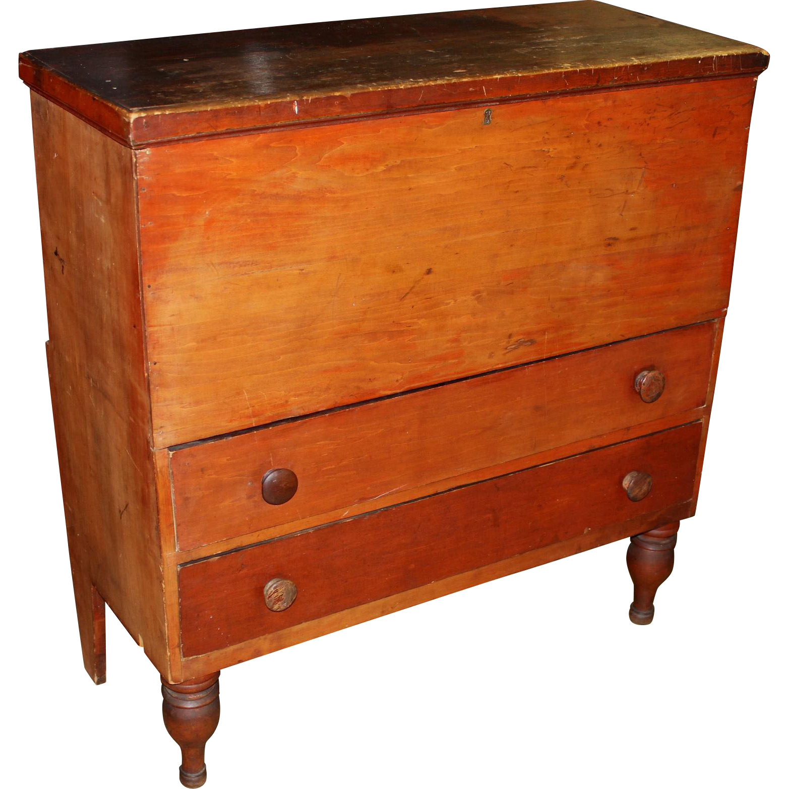19th c Two Drawer Blanket Chest in Old Red Wash