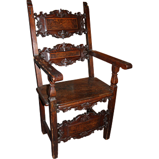 19th c Continental Carved Arm Chair with Burled Panels
