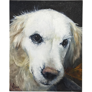 Aline Lotter Oil Painting Portrait of an English Golden Retriever Dog - Sparkle