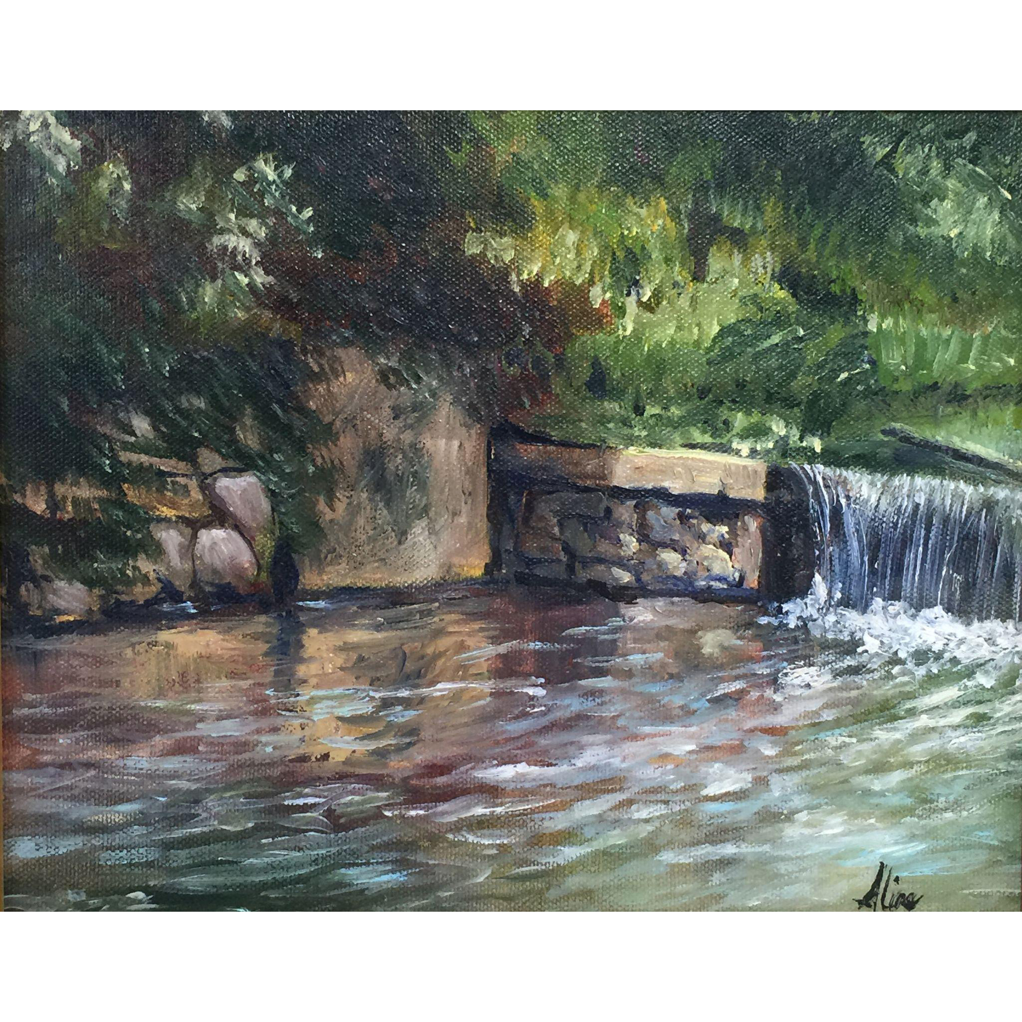 Aline Lotter Oil Painting Landscape - Griffin Mill Dam