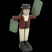 Adolf Haugh Carved Wooden Folk Art Sailor Whirligig 1919