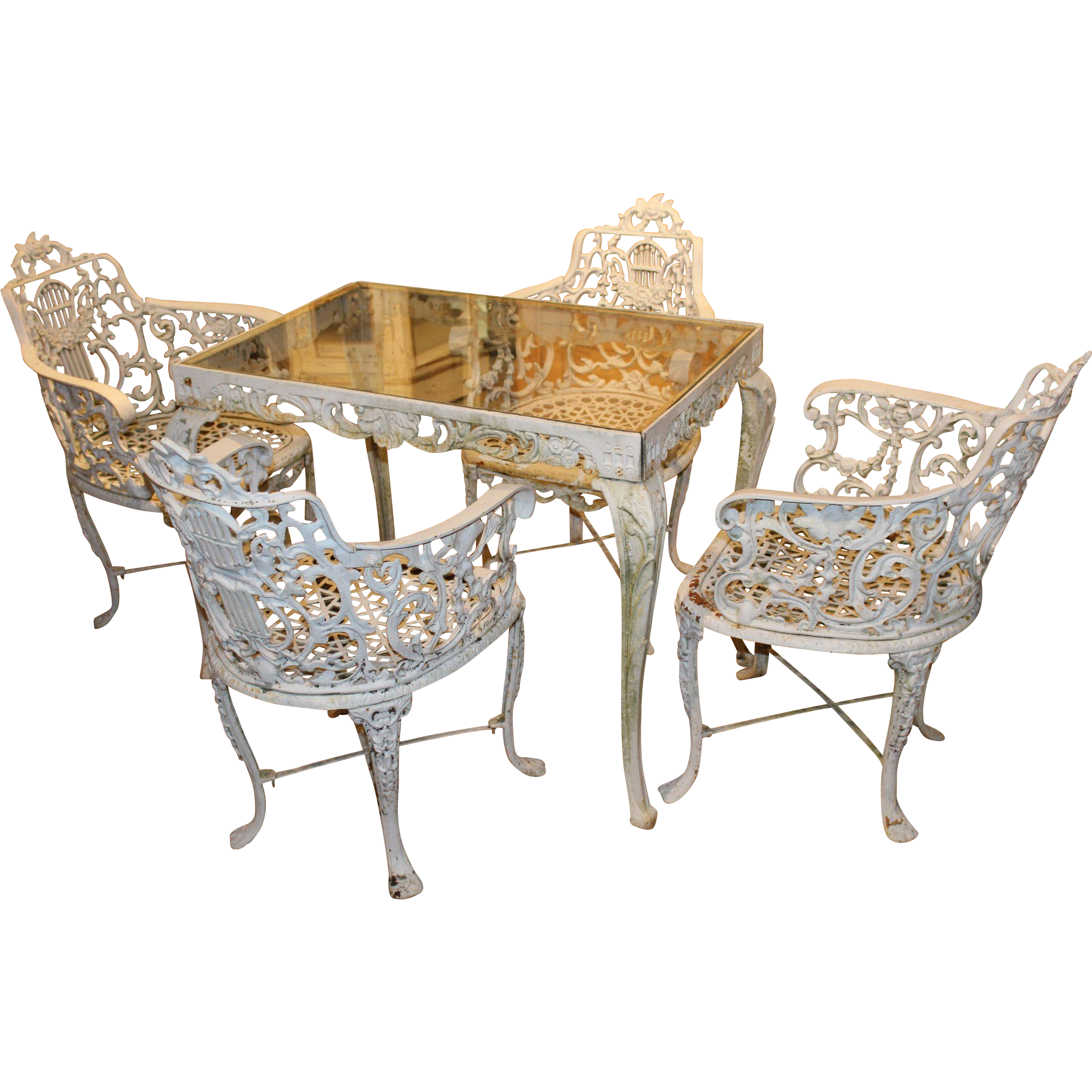 Robert wood foundry five piece victorian cast iron furniture set from nhantiquecoop on ruby lane - Advantages of wrought iron patio furniture ...