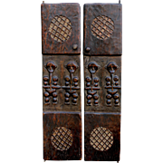 Rare Pair of African Carved Hardwood Doors with Figures